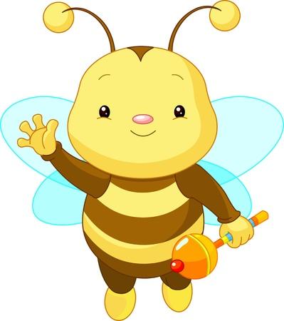 abeja caricatura: Abeja amistoso lindo bebé con sonajero