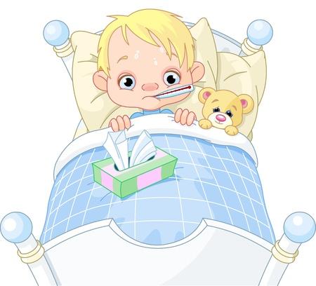 침대에서 귀여운 아픈 소년의 만화 그림 일러스트