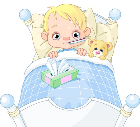 sick teddy bear: Cartoon illustration of cute sick boy in bed