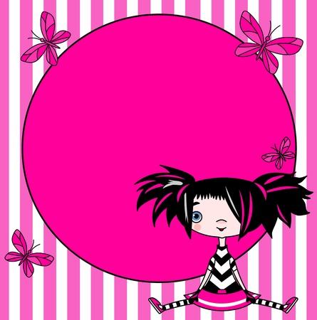 Plaats kaart van emo stijl grappig meisje Stock Illustratie