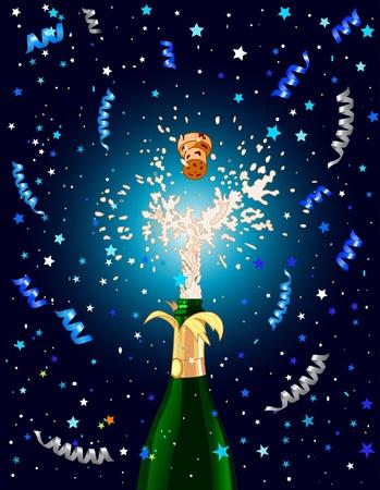 샴페인을 축 하 배경. 새로운 년 이브를위한 최고의 일러스트