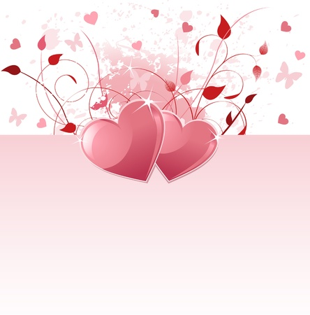 holiday background: Grange vector Valentine Day background with hearts and flowers