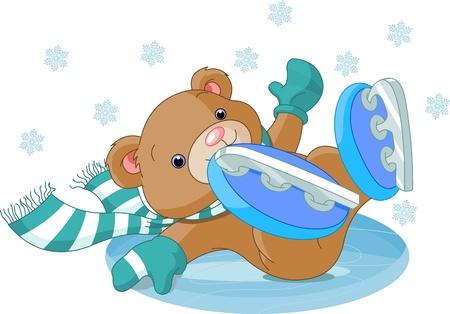 귀여운 곰의 그림 아이스 링크로 하락