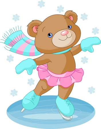 teddy bear christmas: Illustration of cute bear girl on ice skates