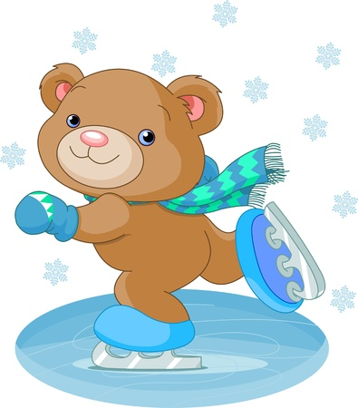 Illustration of cute bear on ice skates Çizim