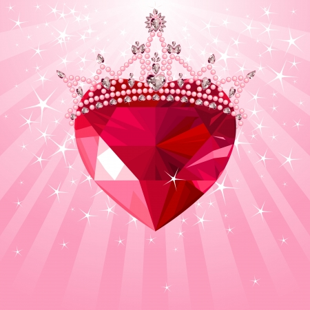 ruby: Shiny crystal love heart with princess crown  on radial background