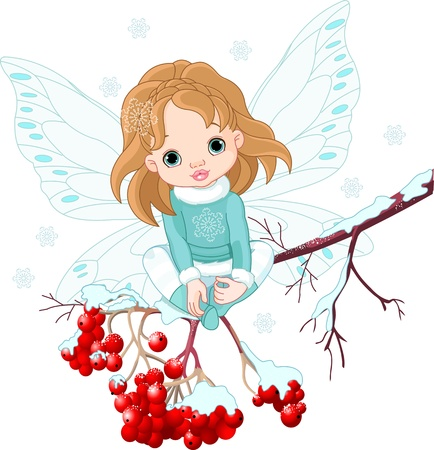 Winter Baby Fairy sitting on Ash Tree Branch Vector