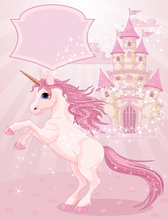fairytale background: Illustration of a Fairy Tale Castle and Unicorn  Illustration