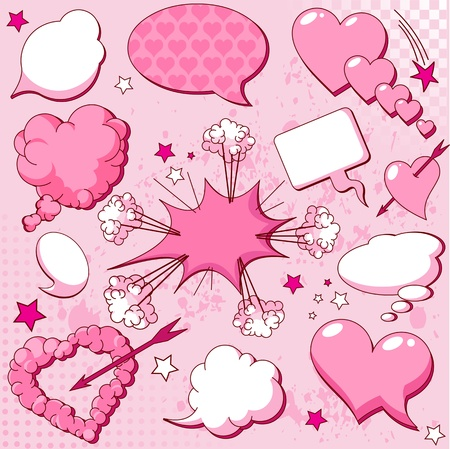 Comics style love speech bubbles  Vector