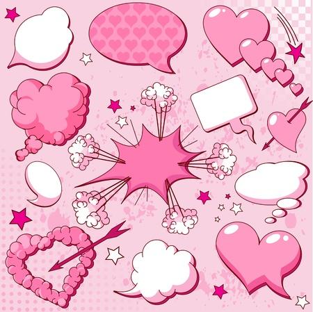 comic bubble: Comics style love speech bubbles