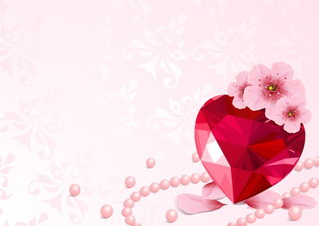 Love Heart and pink cherry blossom design  Vector