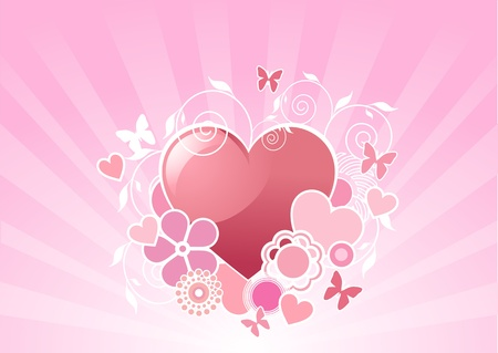 Valentine floral radial background with heart shape  Vector