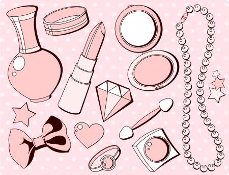 Cure meisjesachtig naadloze reeks van mode-accessoires en dingen die er