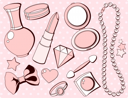Cure girlish seamless set of  fashion accessories and things