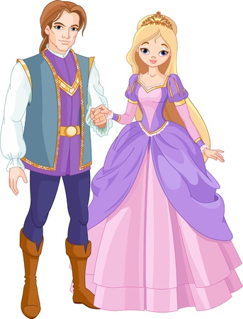 Illustration of charming prince and beautiful princess    Vector