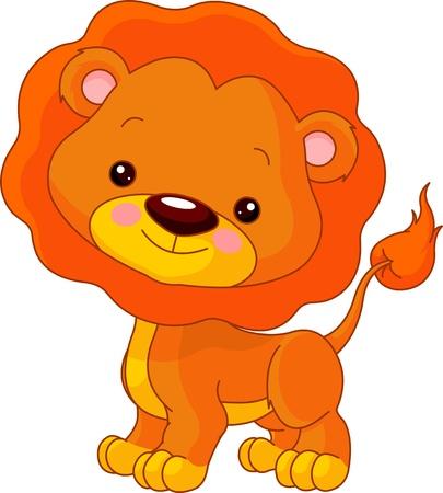 カブ: 楽しい動物園。かわいいライオンのイラスト