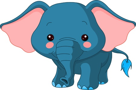 Fun zoo. Illustration of cute Elephant Vector