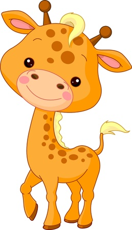 furry animals: Fun zoo. Illustration of cute Giraffe