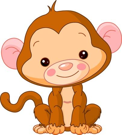 귀여움: 재미 동물원. 귀여운 원숭이의 그림
