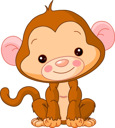 Fun zoo. Illustration of cute Monkey Vector