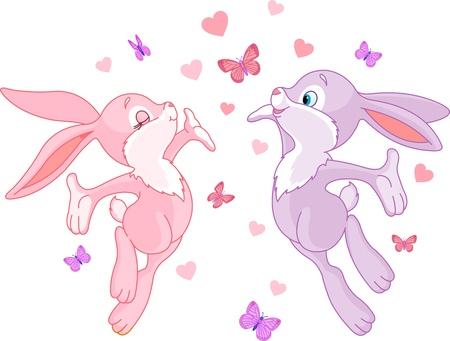 conejo caricatura: Conejitos de San Valent�n en el amor, est�n en el aire Vectores