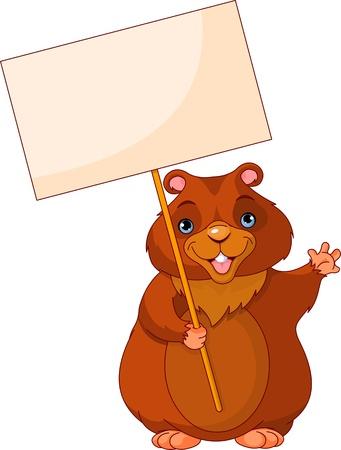 castoro: Divertente Woodchuck azienda Groundhog Day Sign Vettoriali