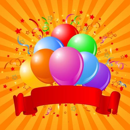 Birthday design with balloons, confetti & copy space ribbon.  Illustration