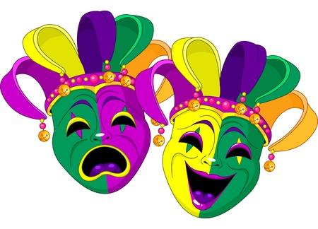 harlekijn: Mardi Gras komedie en tragedie maskers Stock Illustratie