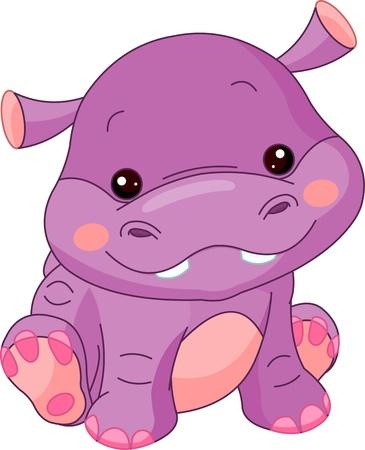 hippo: Fun zoo. Illustration of cute Hippo Illustration