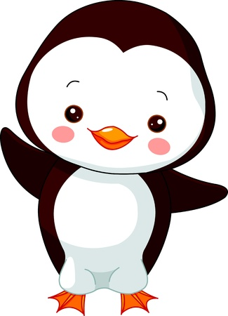 Fun zoo. Illustration of cute Penguin Vector
