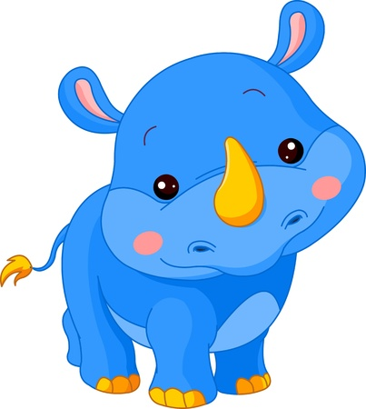 nashorn: Fun Zoo. Illustration von niedlichen Rhino