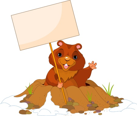 Cute Groundhog popping out of a hole with sign Vector