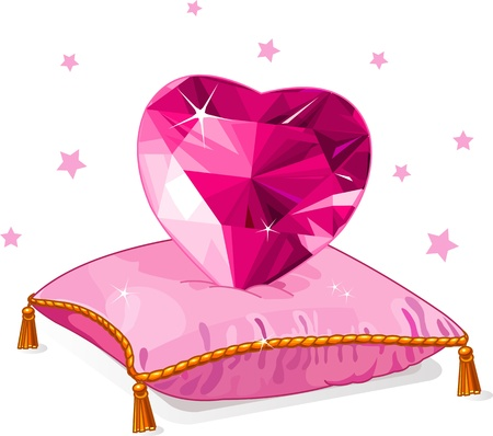 propose: Ruby Love heart on the pink pillow