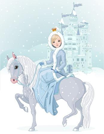 hadas caricatura: Invierno diseño de bella princesa montar a caballo