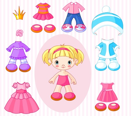 warm clothing: Paper Doll with different clothes