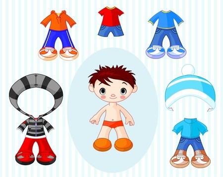 franela: Mu�eco de papel con diferentes tipos de ropa Vectores