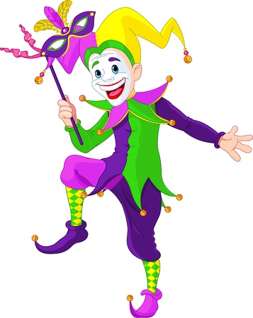 gras: Clip art illustration of a cartoon Mardi Gras jester holding a mask