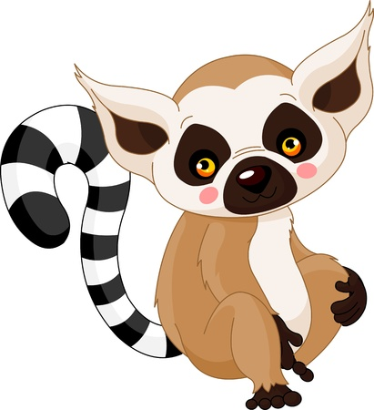 Fun zoo. Illustration of cute Lemur Çizim
