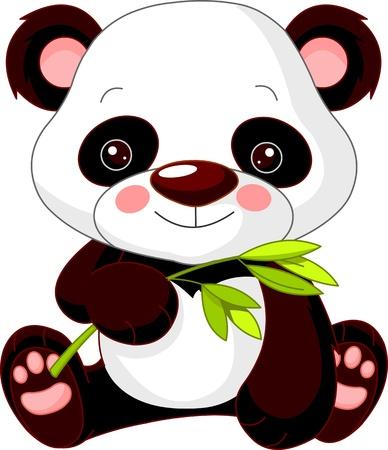 재미 동물원. 귀여운 팬더의 그림