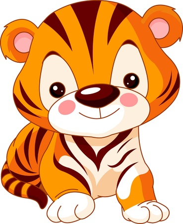 tigres: Zoo Fun. Illustration de mignon Tiger