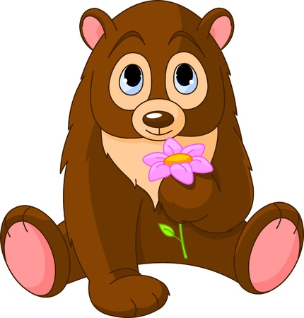 Cute Bear holding pink flower Vector