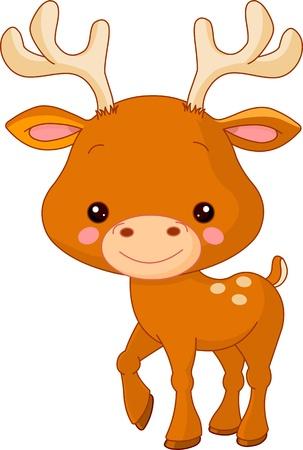 geyik: Fun zoo. Illustration of cute Deer Çizim