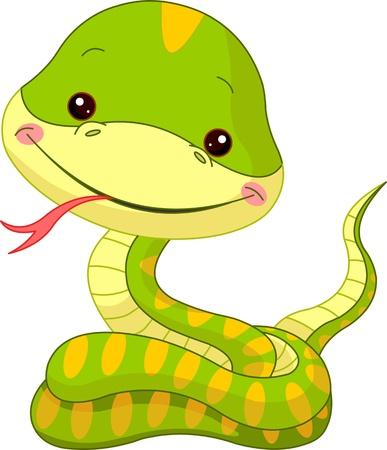 small reptiles: Zoo Fun. Illustrazione di Snake carino