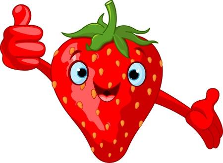 frutas divertidas: Ilustraci�n del car�cter alegre de fresa de dibujos animados