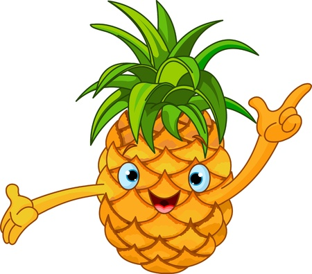 frutas divertidas: Ilustración del carácter alegre de piña de dibujos animados