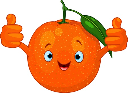 Illustration of Cheerful Cartoon Orange character Ilustração