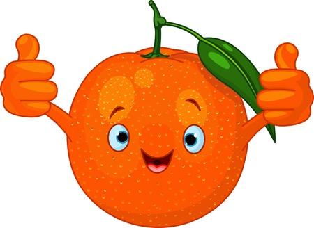 frutas divertidas: Ilustraci�n de car�cter alegre naranja dibujos animados