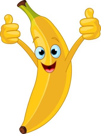 frutas divertidas: Ilustraci�n del car�cter alegre de banano de dibujos animados