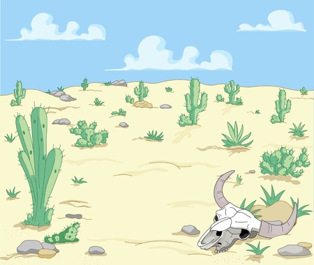 A Desert  Landscape with cactuses  and scull  Vector