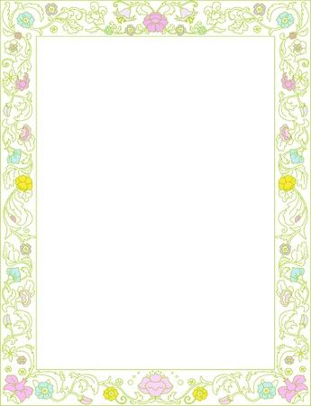 geburtstag rahmen: Gr�ne Feder-Rahmen mit Blumen